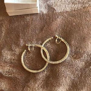 Beautiful silver diamond clip on hoop earrings!